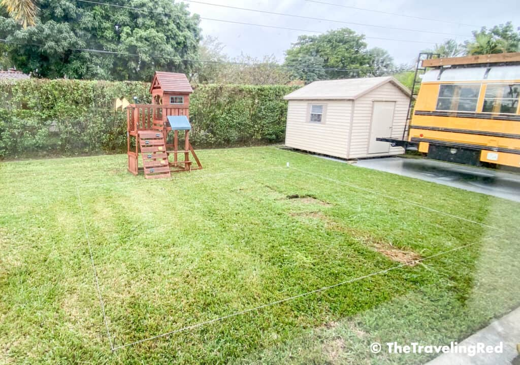 How to build a custom backyard playground with rubber mulch. Step 1 is to mark off the space you plan to use and make sure it's big enough for the swingset, playhouse, sandbox or any other outdoor toys you plan to include. Perfect little outdoor play space for your kids to enjoy playing outside.