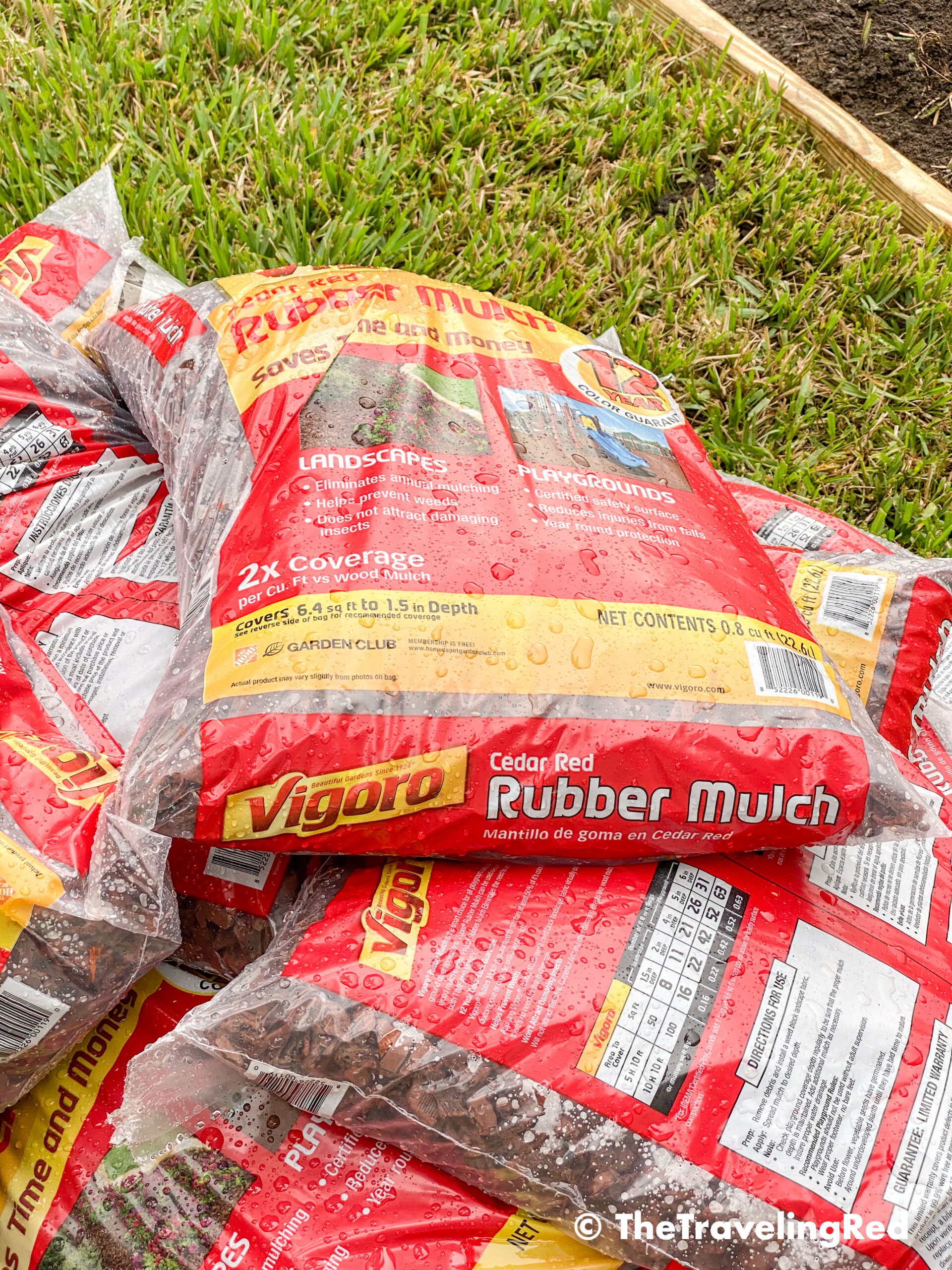 How to build a custom backyard playground with rubber mulch. Step 6 is to add the mulch. We chose red rubber mulch for aesthetic but to also keep it soft for the kids. This space will fit our swingset, playhouse, sandbox or any other outdoor toys you plan to include. Perfect little outdoor play space for your kids to enjoy playing outside.
