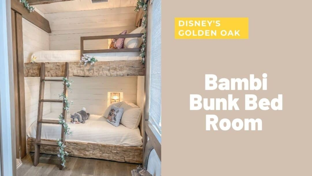 Rustic cabin bunk bed bedroom inside Disney's Golden Oak. Bambi themed kids bedroom with reclaimed wood, shiplap, greenery, flowers and lanterns throughout. Bedroom decorating inspiration. | Kids Rooms Inspo | Room Decor | Home Decor | Home Design | Farmhouse Bedroom | Interior Design
