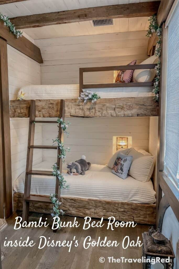 Rustic cabin bunk bed bedroom inside Disney's Golden Oak. Bambi themed kids bedroom with reclaimed wood, shiplap, greenery, flowers and lanterns throughout. Bedroom decorating inspiration.   Kids Rooms Inspo   Room Decor   Home Decor   Home Design   Farmhouse Bedroom   Interior Design