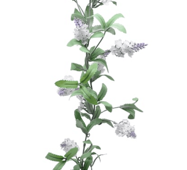 Clickable link to the garland of lavender flowers perfect for decorating a room or any event. Adds a whimsical outdoorsy touch to any space.
