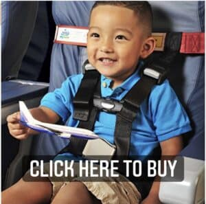 FAA approved airplane harness for children instead of taking a car seat on the airplane. Travel hack for traveling with kids