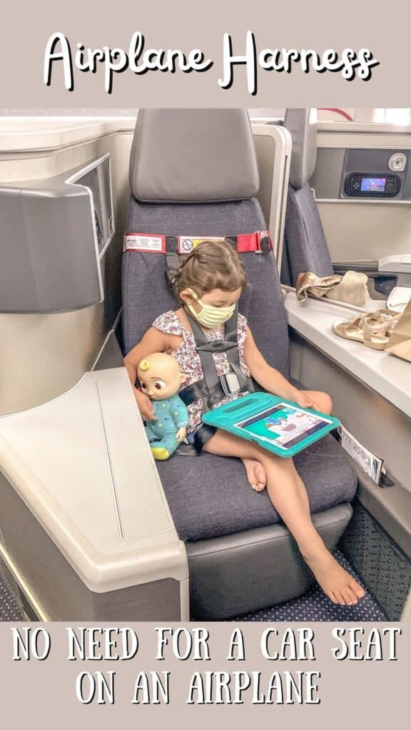 Traveling with kids hack. FAA approved airplane harness as an alternative to installing a car seat on an airplane. It it small and fits in your purse. The harness works with the airplane lap belt to restrain similar to a car seat. It does not affect the person sitting behind you because it goes under their tray table.
