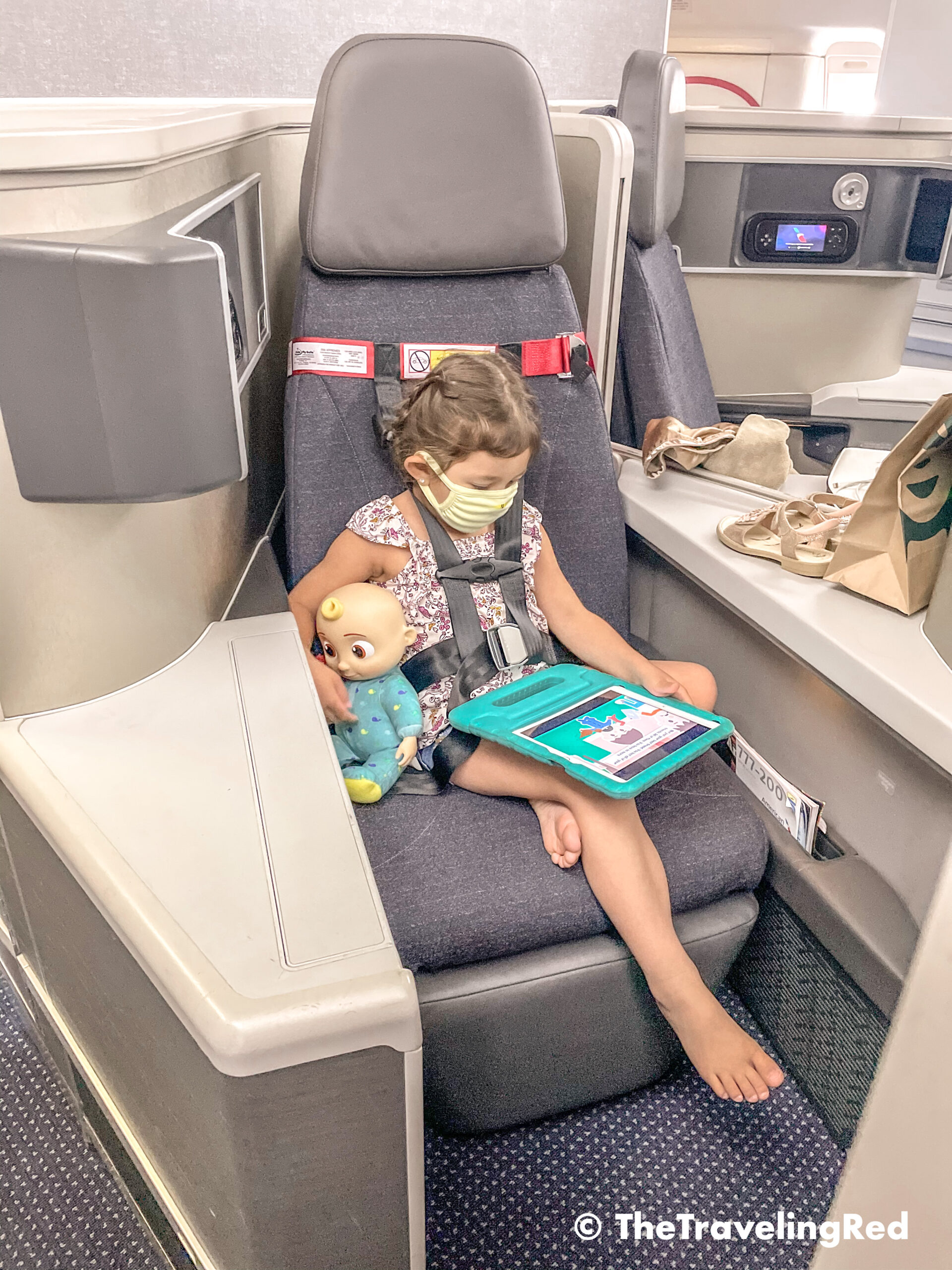 The best alternative for flying with a child and not taking a big car seat. FAA approved airplane harness as an alternative to installing a car seat on an airplane. It it small and fits in your purse. The harness works with the airplane lap belt to restrain similar to a car seat. It does not affect the person sitting behind you because it goes under their tray table.