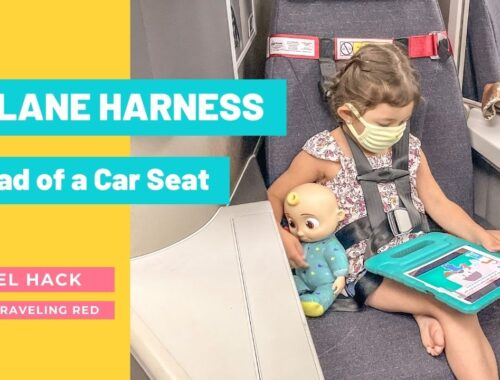 Travel hack for your next flight with kids. FAA approved airplane harness as an alternative to installing a car seat on an airplane. It it small and fits in your purse. The harness works with the airplane lap belt to restrain similar to a car seat. It does not affect the person sitting behind you because it goes under their tray table.
